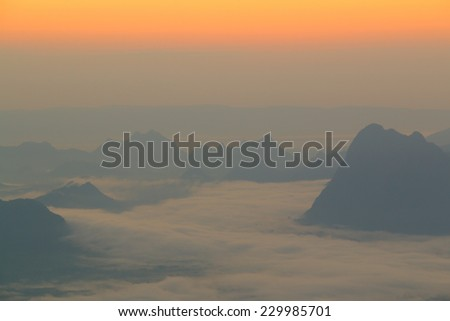 Beautiful winter landscape with sunset - stock photo