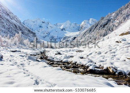 Beautiful winter landscape with wild brook