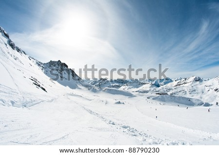 beautiful winter mountain scenery - stock photo