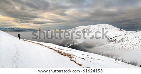 beautiful winter mountains landscape - stock photo