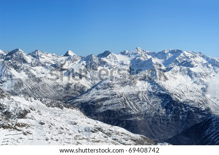 Beautiful winter mountains. Scenic view of Austrian Alps - stock photo