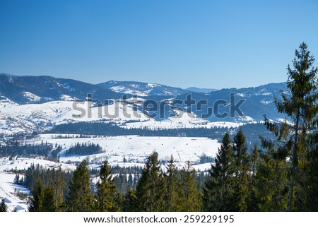 beautiful winter mountains, skiing resort - stock photo