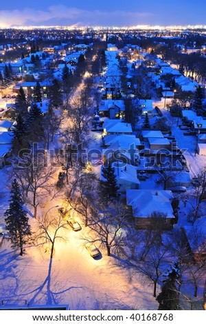 Beautiful winter night scene of the city edmonton, alberta, canada - stock photo