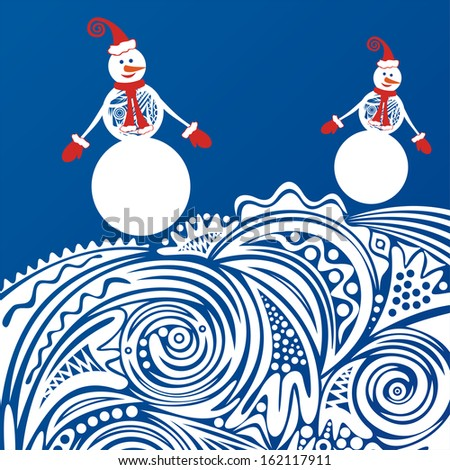 Beautiful winter pattern background snowman merry christmas happy new year card illustration - stock photo