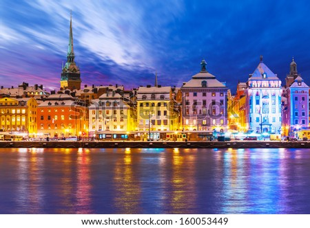 Beautiful winter scenery panorama of the Old Town (Gamla Stan) pier architecture in Christmas and New Year holidays in Stockholm, Sweden - stock photo