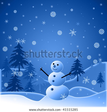 Beautiful winter snowy background with snowman - stock photo