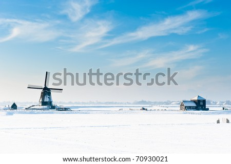 Beautiful winter windmill landscape in Oosthuizenthe Netherlands - stock photo