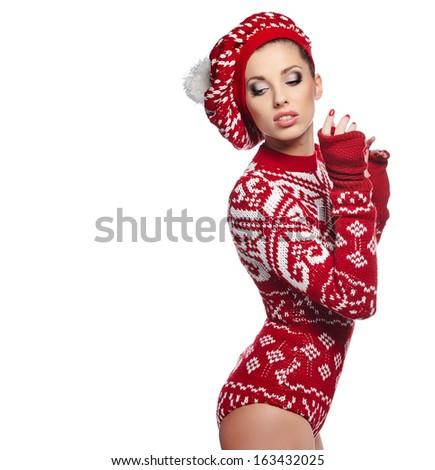 Beautiful winter woman in studio  - stock photo