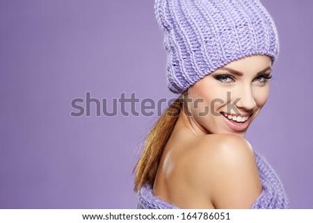 Beautiful winter woman in warm clothing  - stock photo