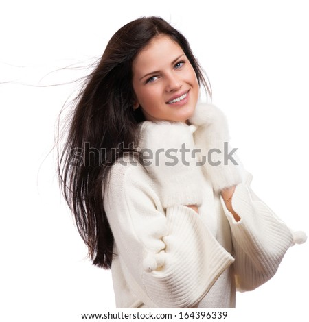 Beautiful winter woman isolated on white