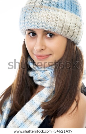 Beautiful Winter Woman isolated on white - stock photo