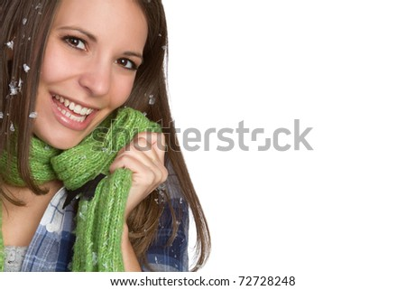 Beautiful winter woman wearing scarf - stock photo