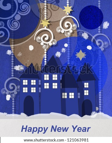 Beautiful wintry village square Christmas greeting card at twilight with welcoming glowing windows under a collage of decorative baubles and swirls with copyspace for your festive wishes