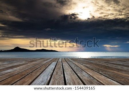 Beautiful with sunset over the sea - stock photo