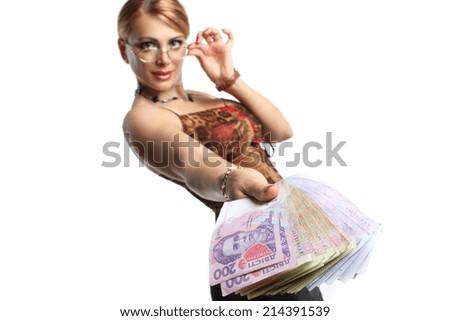 beautiful woman accountant, with Ukrainian banknotes. money wealth success - stock photo