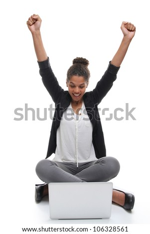 Beautiful woman and a laptop - stock photo