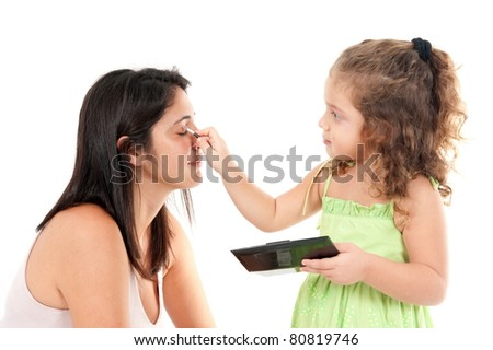Beautiful woman and child girl on white .