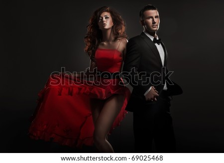 Beautiful woman and handsome man - stock photo