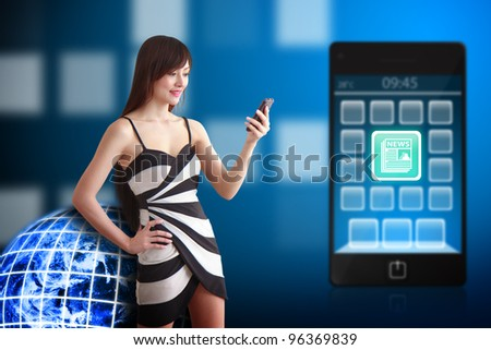 Beautiful woman and News icon on mobile phone : Elements of this image furnished by NASA - stock photo