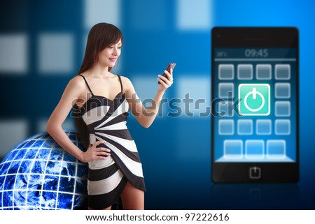Beautiful woman and Power icon on mobile phone - stock photo