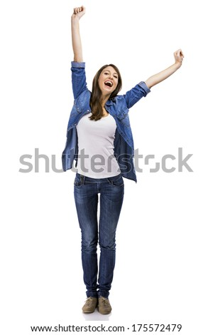 Beautiful woman and verry happy woman with arms on the air, isolated over white background