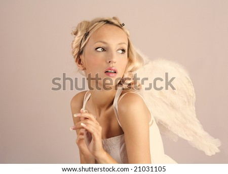 beautiful woman angel - stock photo