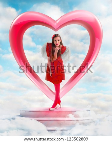 Beautiful woman angel  sending love from the heart shaped gate in sky - stock photo