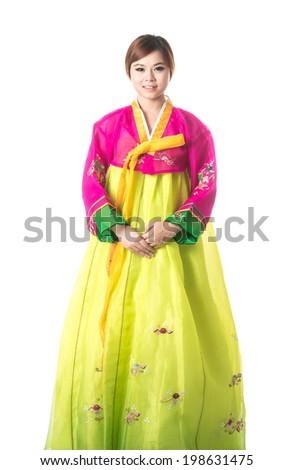 Beautiful woman asian girl hanbok dress korea.Woman in Korean Traditional Dress.Smiling korea woman dress traditional,studio shot isolated on white background. - stock photo