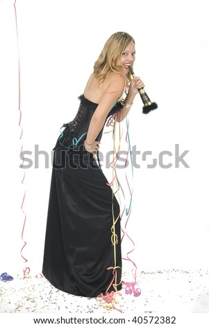 beautiful woman at a new year party - stock photo