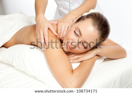 Beautiful woman at massage procedure - stock photo