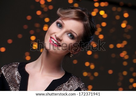 Beautiful woman at new year party celebration