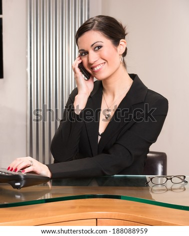 Beautiful Woman Attractive Business Person Office Desk Answering Telephone