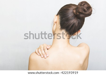beautiful woman back view, isolated on white background, asian - stock photo