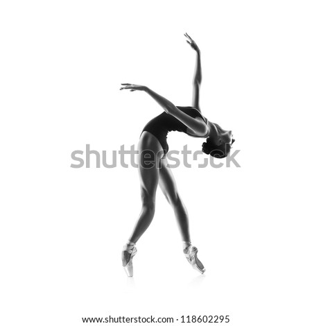 beautiful woman ballet dancer isolated on studio white background - stock photo
