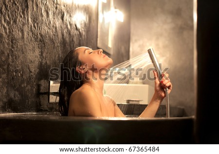 Beautiful woman bathing