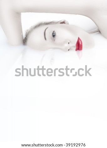 Beautiful Woman Bathing with a red lips - stock photo