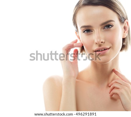 Beautiful woman beauty face portrait with healthy skin
