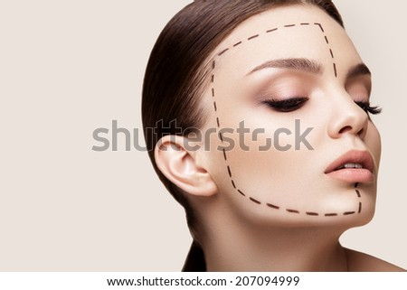 Beautiful  Woman before Plastic Surgery Operation Cosmetology. Beauty Face - stock photo