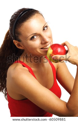 beautiful woman bite  red apple isolated on white - stock photo