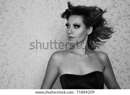 Beautiful woman black and white portrait