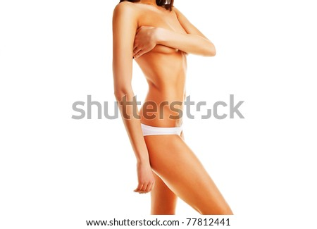 Beautiful woman body on white background - stock photo