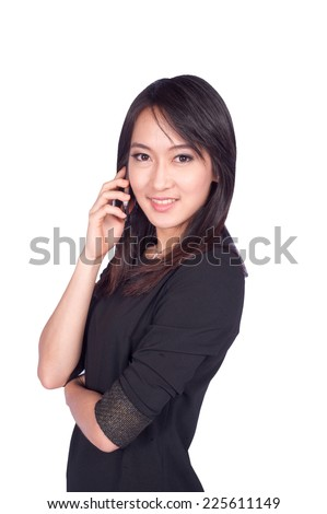 Beautiful woman calling by phone  - stock photo