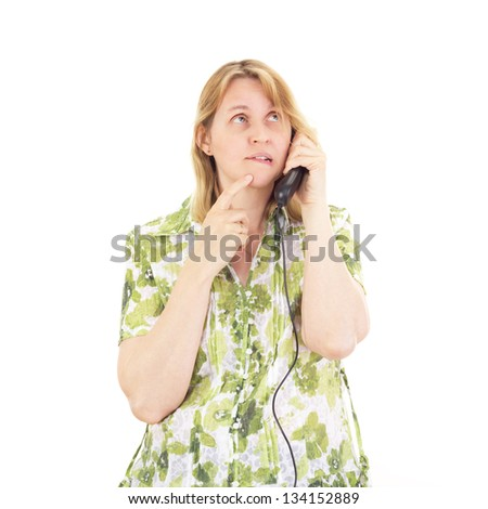 Beautiful woman calling somebody - stock photo