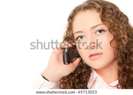Beautiful woman calling to phone isolated on white