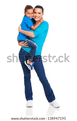 beautiful woman carrying her little girl isolated on white background - stock photo