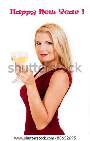 Beautiful woman celebrating new year. isolated - stock photo