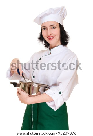 Beautiful woman chef with kitchen utensil isolated on white - stock photo