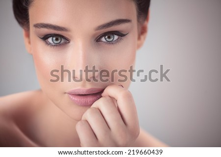Beautiful woman. Close up. - stock photo
