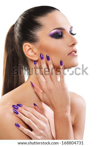 Beautiful woman close up on white background  - stock photo