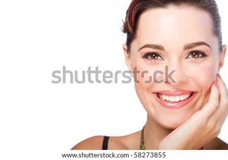beautiful woman closeup head shot with makeup done - stock photo